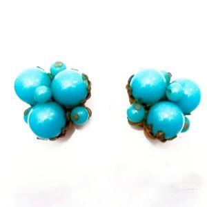Vintage Czech Gold & Turquoise Glass Bead Earrings